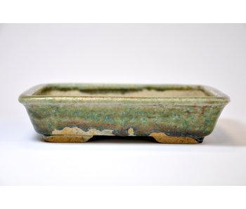 Rectangular green glazed Koto Chukan pot - 171 mm