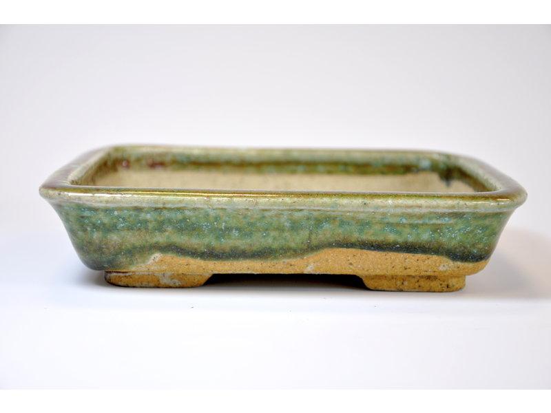 Rectangular green glazed Koto Chukan pot - 171 x 32 x 32 mm