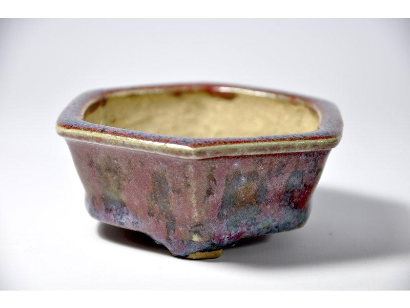 Zeshoekige veelkleurige pot - 100 x 91 x 39 mm