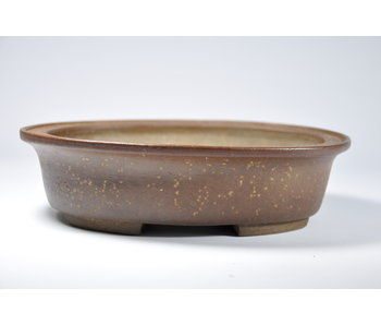 Oval unglazed kousen pot - 187 mm