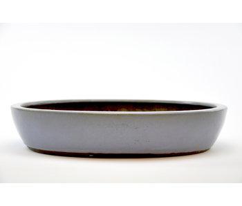 Oval blue glazed Yamaaki pot - 430 mm