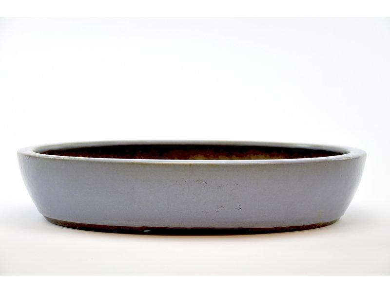 Ovaler Yamaaki-Topf mit blauer Glasur - 430 x 353 x 83 mm