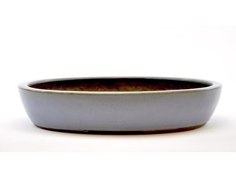 Oval blue glazed Yamaaki pot - 430 x 353 x 83 mm