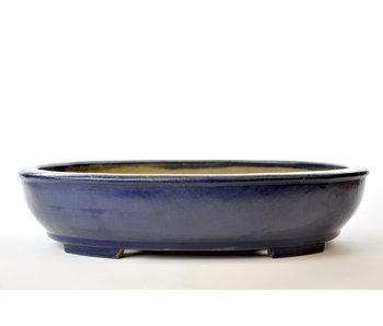Oval blue glazed Senzan pot - 490 mm