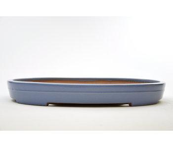 Ovale blauw geglazuurde Yamafusa-pot - 475 mm