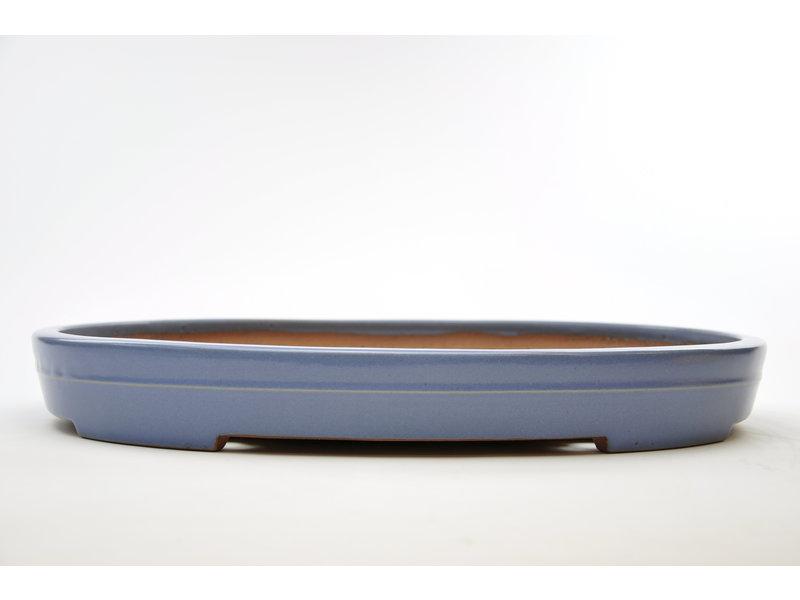Oval blue glazed Yamafusa pot - 475 x 350 x 60 mm