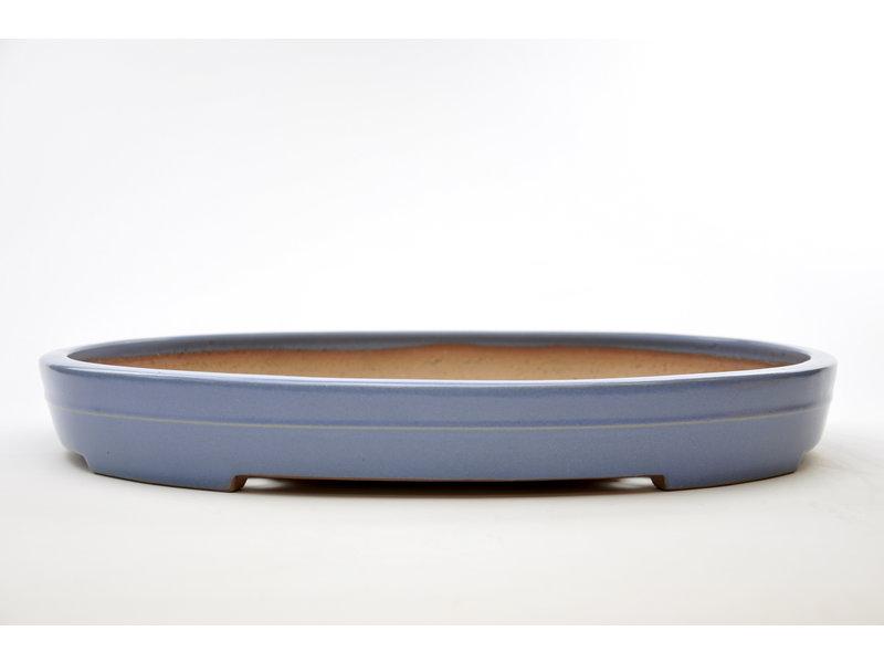 Ovaler blau glasierter Yamafusa-Topf - 475 x 350 x 60 mm
