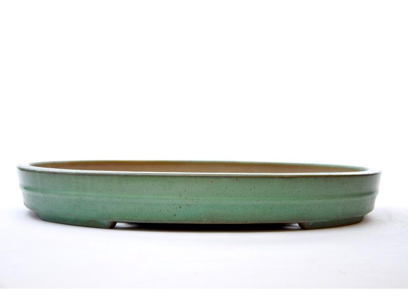 Ovale groen geglazuurde Yamafusa-pot - 475 x 355 x 60 mm