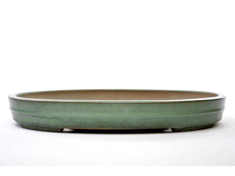 Ovaler grün glasierter Yamafusa-Topf - 475 x 355 x 60 mm