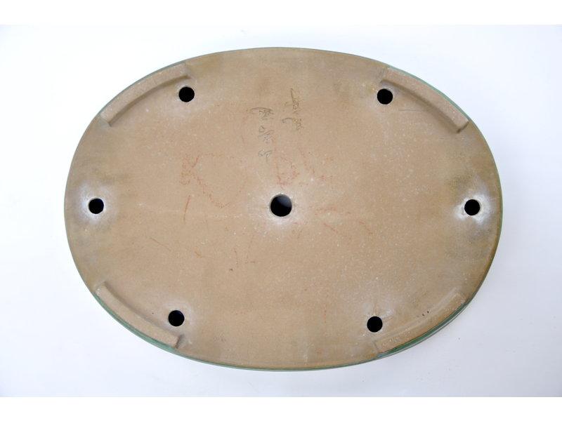 Oval green glazed Yamafusa pot - 475 x 355 x 60 mm