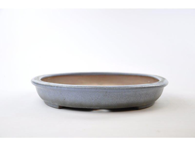 Oval blue glazed Reiho, second generation pot - 455 x 330 x 55 mm