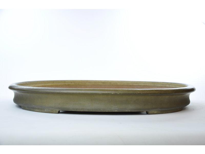 Oval beige glazed Reiho, second generation pot - 580 x 420 x 60 mm