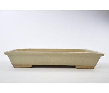 Vaso rettangolare beige smaltato - 375 mm