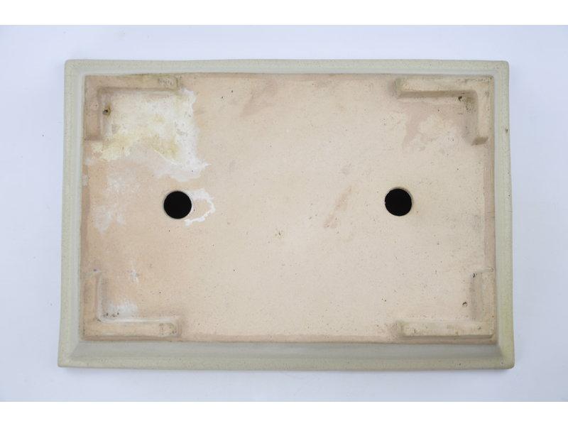 Rechteckiger Topf mit beigefarbener Glasur - 375 x 260 x 70 mm