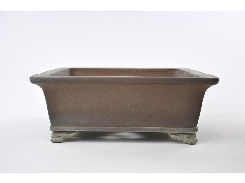 Rechthoekige ongeglazuurde Sanpou-pot - 300 x 260 x 100 mm