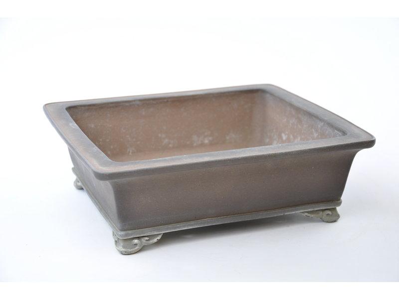 Rectangular unglazed Sanpou pot - 300 x 260 x 100 mm