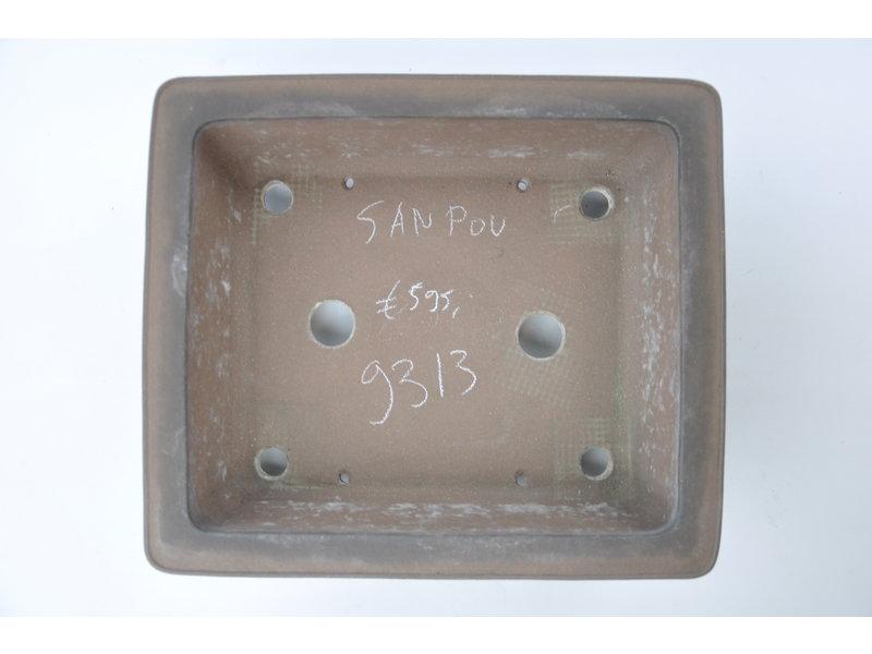 Rechteckiger unglasierter Sanpou-Topf - 300 x 260 x 100 mm