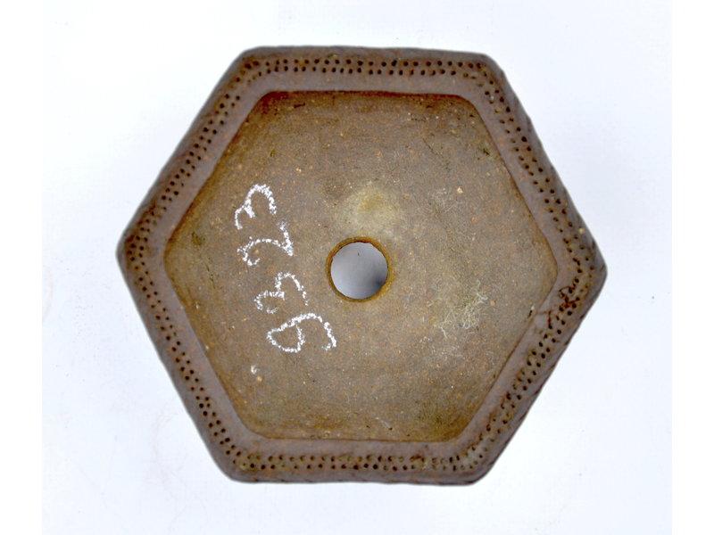 Zeshoekige ongeglazuurde pot - 115 x 115 x 45 mm