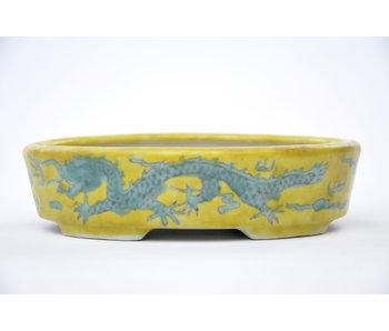 Ovale handgeschilderde geel geglazuurde pot - 150 mm