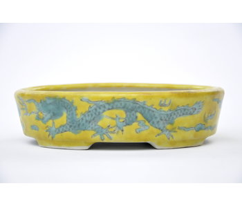 Vaso ovale giallo smaltato dipinto a mano - 150 mm