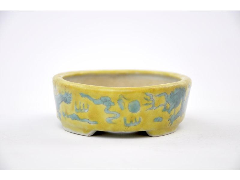 Pot ovale vitré jaune peint à la main - 150 x 112 x 40 mm