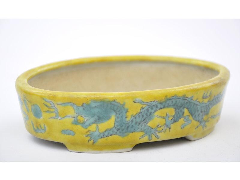 Ovale handgeschilderde geel geglazuurde pot - 150 x 112 x 40 mm