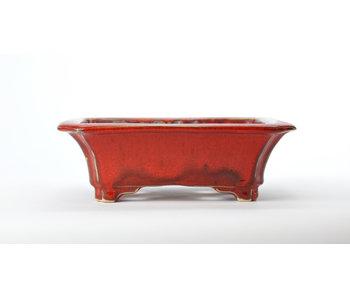 Rectangular red Sharaku pot - 183 mm