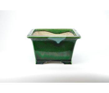 Rectangular green craquelé Mazan pot - 300 mm