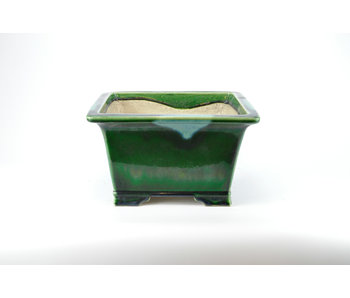 Vaso Mazan rettangolare craquelé verde - 300 mm