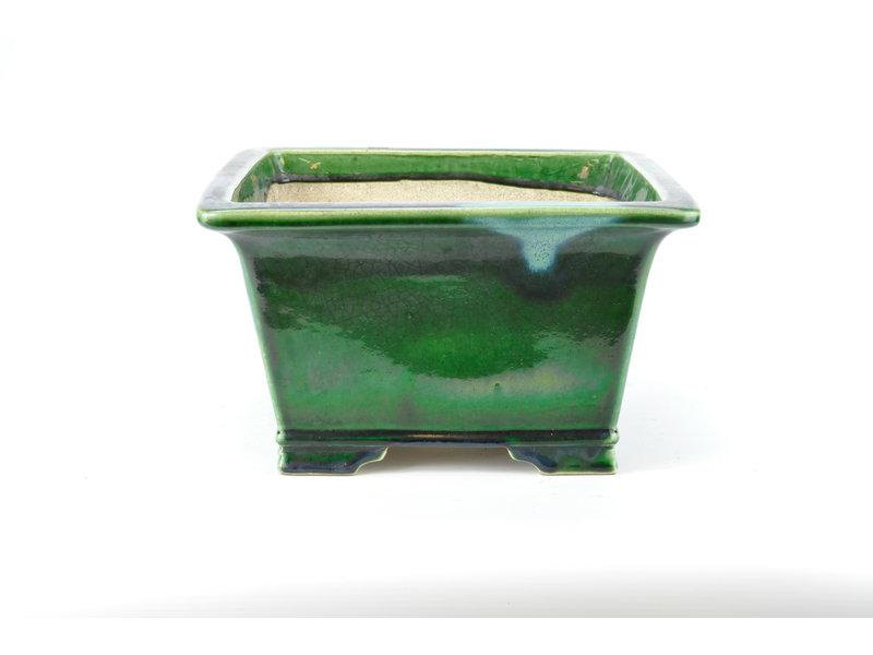 Rectangular green craquelé Mazan pot - 300 x 300 x 175 mm