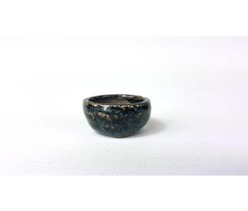 Ronde zwarte en blauwe pot - 35 mm