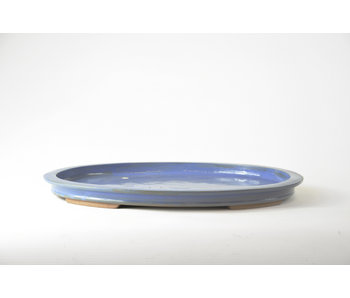 Oval blue glazed suiban - 380 mm