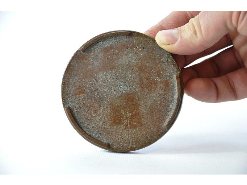 Round bronze suiban - 85 x 85 x 10 mm (Doban)