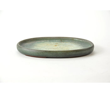 Oval green glazed ceramics suiban - 125 mm