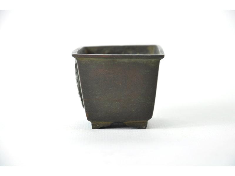 Rectangular bronze suiban - 65 x 45 x 40 mm (Doban)