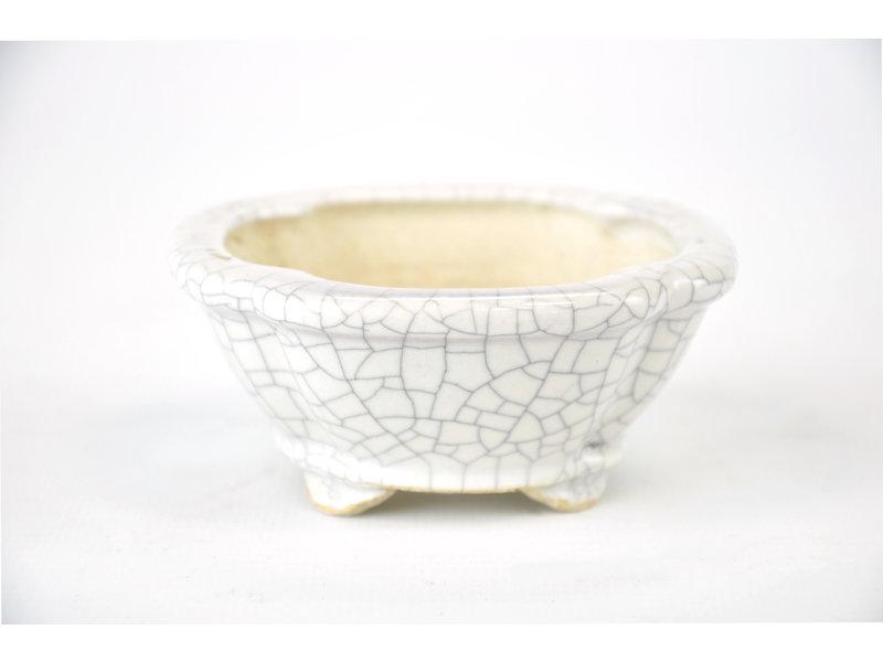 Vierkante Mokko witte craquelé Yozan-pot - 85 x 85 x 40 mm