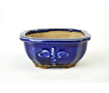 Pot à bonsaï 120 mm par Heian Kosen de Kyoto. Carré, bleu.