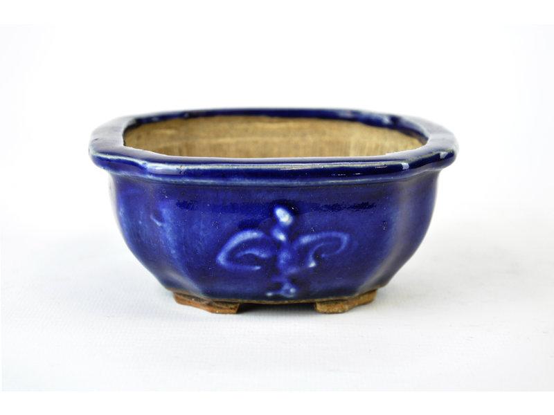 Vierkant blauwe Heian Kosen-pot - 120 x 120 x 50 mm