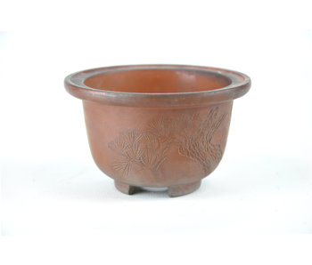 90 mm bonsai pot by Bigei from Tokoname. Round, unglazed.