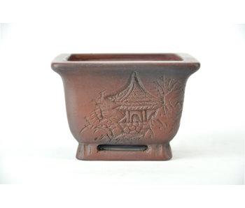 83 mm Bonsai Topf von Bigei aus Tokoname. Quadratisch, unglasiert.