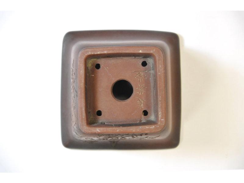 Vierkante ongeglazuurde Bigei-pot - 83 x 83 x 55 mm