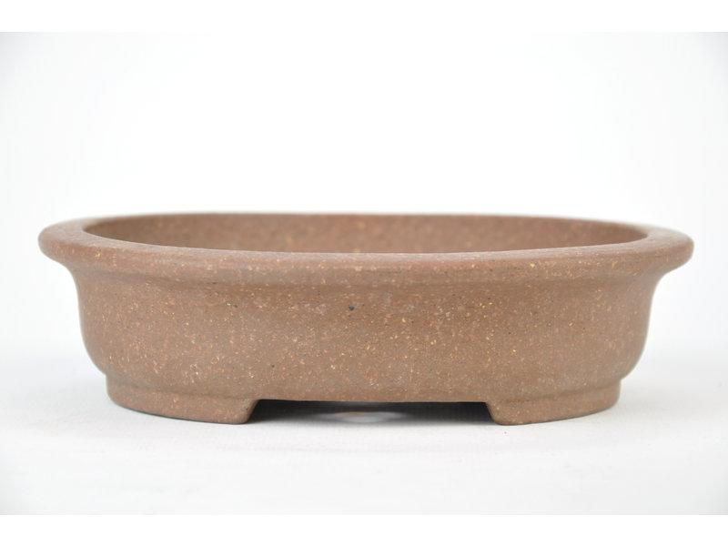 Ovale ongeglazuurde Hokido-pot - 155 x 135 x 40 mm