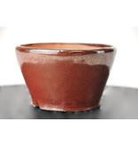 Ronde bruine Bonsa-pot - 95 x 93 x 50 mm