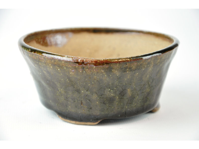 Ronde groene Bonsa-pot - 102 x 107 x 45 mm