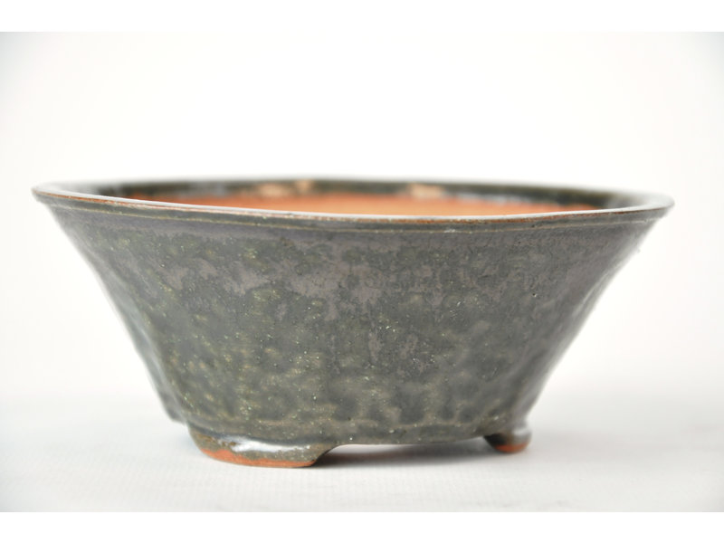 Ronde groene Bonsa-pot - 122 x 120 x 50 mm