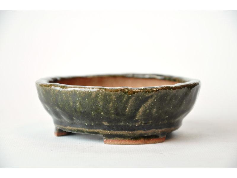 Ronde groene Bonsa-pot - 100 x 103 x 35 mm