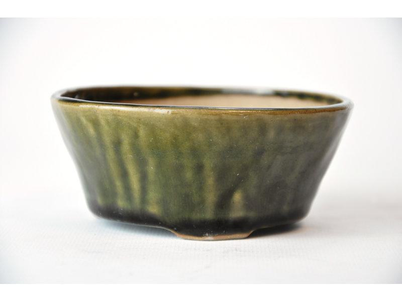 Ronde groene Bonsa-pot - 106 x 106 x 45 mm