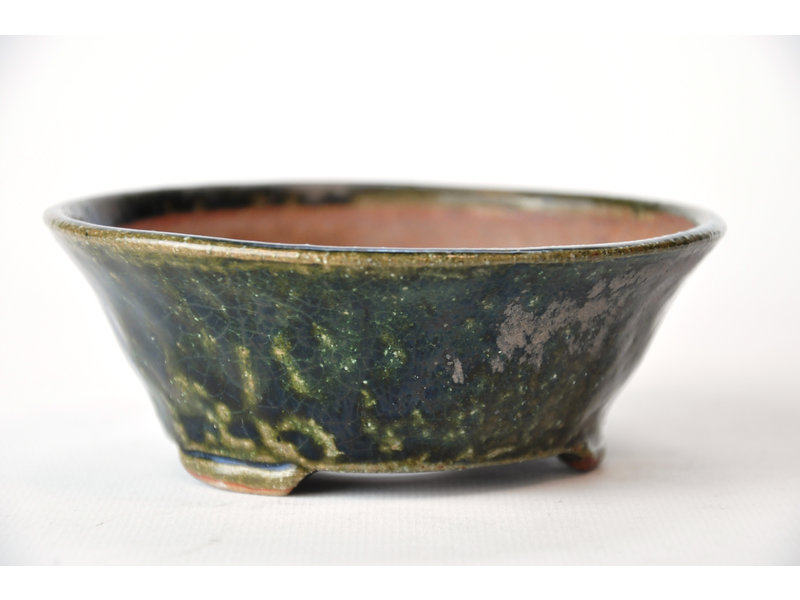 Round green Bonsa pot - 120 x 120 x 45 mm