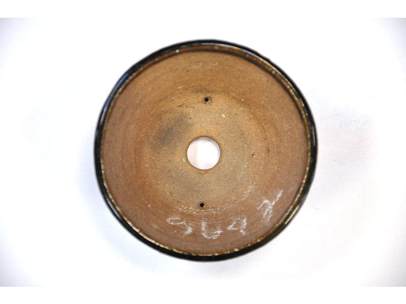 Ronde groene Bonsa-pot - 97 x 95 x 45 mm
