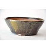 Ronde goud en bruine Bonsa-pot - 117 x 115 x 40 mm